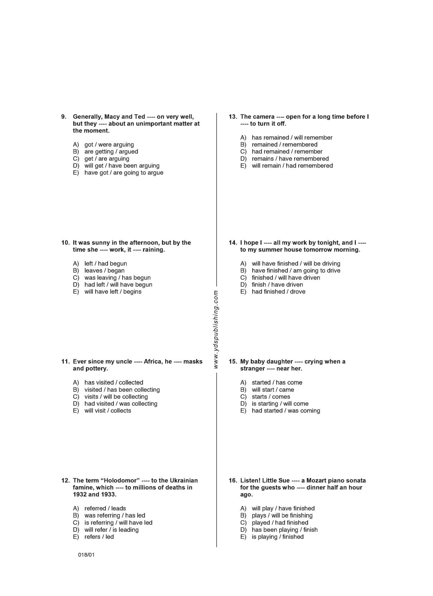 Influence 11 Grammar Worksheets Yds Publishing